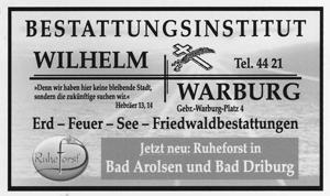 Bestattungsinstitut Wilhelm, Warburg
